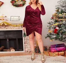 Plus Size Burgundy Ruched Velvet Wrap Dress