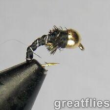 1 dozen (12) - Zebra Midge - Gold (brass) Bead Head