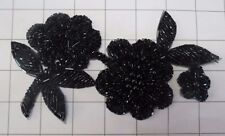 "Flower Black Beaded Applique 6"" by 3"" (C-58)"