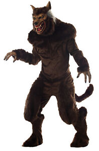 Deluxe Werewolf Adult Costume Monster Brown Beast Hairy Halloween