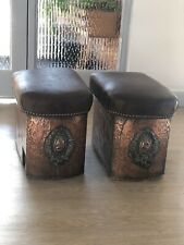 Antique Pair Fender Stools Arts And Crafts Hammered Copper Log Boxes Edwardian