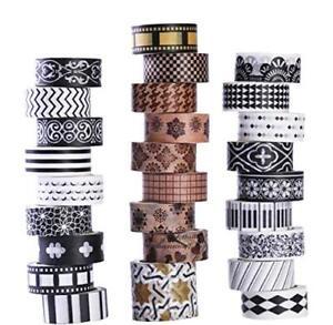 27 Rolls Washi Tape Set Black White Decorative Patterned Planner Bullet Journal