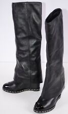 Chanel Women's Fold Over Boots Size 36 Italy Steampunk Chain Logo Black 5.5 US