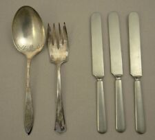 "COMMUNITY PLATE SILVER BERRY SPOON ""ADAM"" + R. WALLACE MEAT FORK +3 CUEVEE KNIFE"