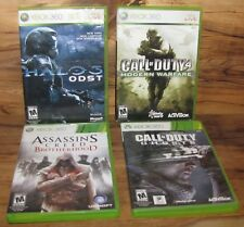 Lot of 4 Xbox 360 Games-Halo,Call of Duty 4 & Ghosts, Assassin's Creed