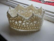 New Baby Girl Boy Crochet Crown Hat Handmade Photo Prop Newborn cute Cream