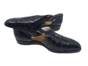 Paolo de Marco Size 17M Black Mens Dress Shoes Genuine Alligator Skin Cap Toe
