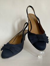 "Hobbs Navy Blue Satin Slingback Shoes 3"" Kitten Heel With Bow Front UK 5 EU 38"