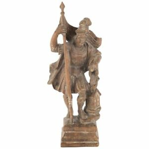 18th Century German or Austrain Carved Wood Figure of Saint Florian