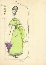Disegno Bozzetto Moda Pittore G. Marini Dama Ottocento Abito Vintage 1950 - 1960