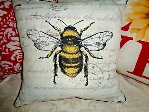 "HONEY BEE Outdoor Pillow USA 16"" Dlx Yellow Stripe Farmhouse Word Pillows w Welt"