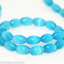 New 8x12mm Sea Blue Mexican Opal Gemstone Rice Loose Bead 13''