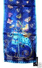 Laurel Burch 100% Silk Oblong Blue Scarf Indigo Cats With Sequin Accents NWT