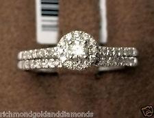 Real Diamonds White Gold Round Halo Style Engagement Bridal Wedding Ring Set