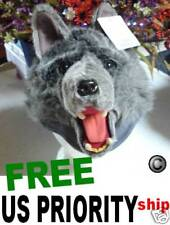 GRAY WOLF HAT Sled US SELLER animal COSTUME wolfie monster mascot cap silver fox