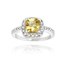 Sterling Silver Citrine & Diamond Accent Square Ring S10