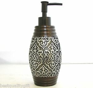 NEW SILVER TONE FLORAL VINTAGE DESIGN+BROWN RESIN SOAP+LOTION DISPENSER