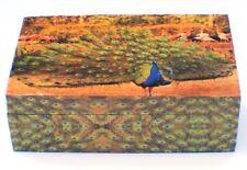 "Large Peacock Wooden Keepsake Jewelry Box 5""x 8"""