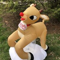 Rudolph Red Nosed Reindeer Gemmy Inflatable Christmas Air Blown Outdoor 4'
