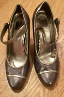 COaCH Bronze Gold Mary Jane Leather High Heels Size 6