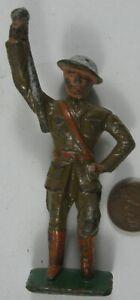 1930's Cast Iron Grey Iron Soldier Drum Major