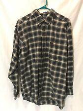 Vintage Pendleton Green Plaid Long Sleeve Cotton Button Shirt Leather pocket tag