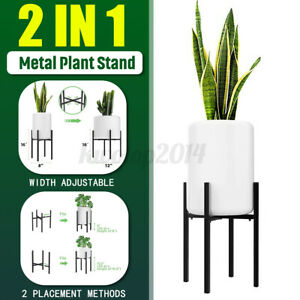 2-Use Adjustable Width Plant Stand Metal Vintage Flower Pot Rack  Indoor Outdoor