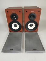 Pair of Sony SS-CSPZ50 Bookshelf Speakers Walnut Colour with Covers 6 Ohms