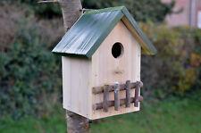 Nichoir Cabine Abris pour oiseaux en bois, Couleur bois naturel toit vert