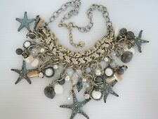 GG Designer Signed Leather & Verdigris Finish STARFISH BEACH NECKLACE w/ Crystal