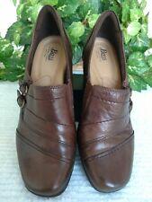 "Bass ""Tonia"" women's Sz 7.5M brown soft  leather comfort 2.5""block heels nonskid"