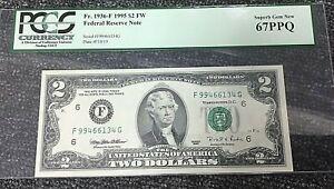 1995 $2 ATLANTA FRN (FG BLOCK) 1936-F PCGS 67PPQ SUPERB GEM NEW  .99c START