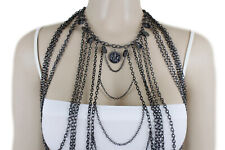 Set Fashion Long Harness Necklace Coins Hot Women Black Body Metal Chain Jewelry