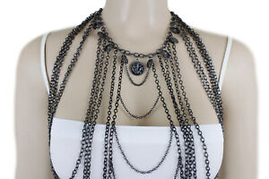 Hot Women Black Body Metal Chain Jewelry Set Fashion Long Harness Necklace Coins