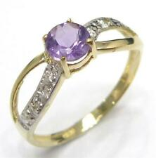 SYJEWELLERY 9CT YELLOW GOLD NATURAL ROUND AMETHYST & DIAMOND RING SIZE N R855