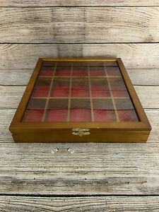 Wooden Model Car Display Show Case Cabinet Wall Mounted Glass Red Lining Used