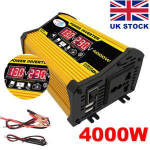 4000W Car Van Power Inverter DC 12V to AC 240V Sine Wave Dual 2USB Converter  UK