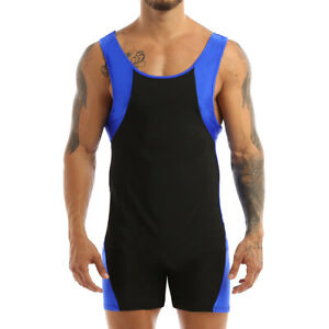 Men's Basic Unitard Swim Leotard Bodysuit One Piece Wrestling Singlet Jumpsuit