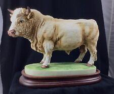 Andrea by Sadek Charolais Bull Figurine Japan Porcelain with Wood Base