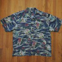 Tommy Bahama Hawaiian Shirt Mens Blue Island Coral Palm Trees Marlin Size XL
