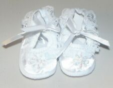Baby Girls' Satin Shoes White Small Infant Newborn