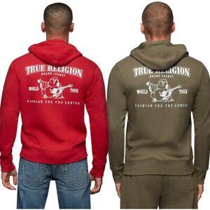 True Religion Men's Classic Buddha Logo Full Zip Up Hoodie Sweatshirt
