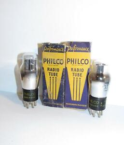 2 NIB/NOS Philco type 37 ST amplifier tubes.  TV-7 test @ NOS specs.