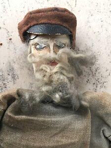 Folk Art Antique Painted Cloth Rag Boy Man Mustache Beard Peasant Doll