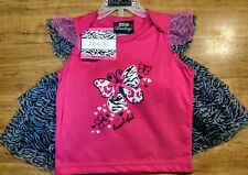 New, Baby Girls Size 18 Month, 2 Pc Butterflies & Zebra Print Mesh Skirt Set