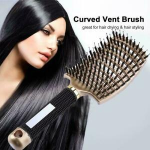 Curved Vented Boar Bristle Styling Hair Brush Detangling Massage 1 Brush x Q6D3