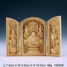 Hot ! Exquisite Handwork Carved Boxwood Buddha Statue China Calligraphy Box NA52