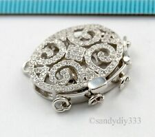 1x Rhodium STERLING SILVER CZ ROUND BEADING THREAD CONNECTOR CLASP 10mm #2865