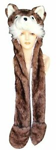 Penguin/Polar Bear/Husky/Wolf Animal Plush Hat Mittens w/Scarf 3in1 Faux Fur 6