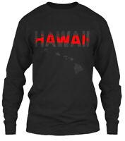 Hawaii Red Line Onyx Gildan Long Sleeve Tee T-Shirt
